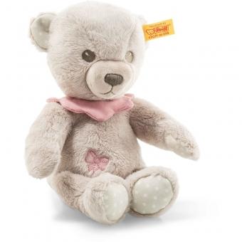 Steiff 241574 Hello Baby Lea Teddybär in Geschenkbox, Plüsch, 23 cm, grau/pink