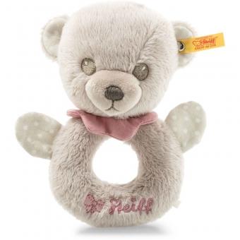 Steiff 241611 Hello Baby Lea Teddybär Greifring mit Rassel in Geschenkbox, Plüsch, 15 cm, grau/pink