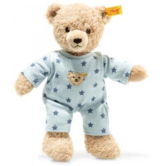 Steiff 241642 Teddy and Me Teddybär Junge Baby mit Schlafanzug, Plüsch, 25 cm, beige/blau