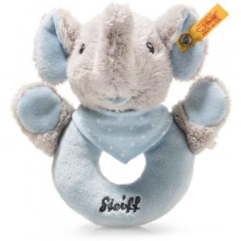 Steiff 241710 Trampili Elefant Greifring mit Rassel, Plüsch, 13 cm, grau/blau