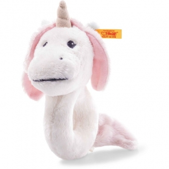 Steiff 241819 Soft Cuddly Friends Unica Babe Einhorn Greifring mit Rassel, Plüsch, 14 cm, weiß