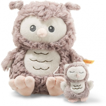 Steiff 241840 Soft Cuddly Friends Ollie Eule Spieluhr, Plüsch, 21 cm, rosebraun