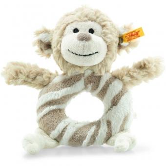 Steiff 241871 Soft Cuddly Friends Bingo Affe Greifring mit Rassel, Plüsch, 14 cm, hellbraun/creme
