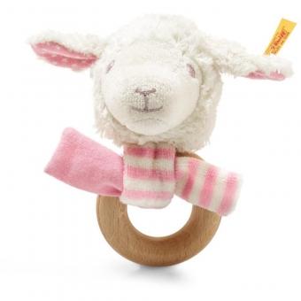 Steiff 241925 Liena Lamm Greifring mit Rassel, Baumwolle, 12 cm, weiß/rosa