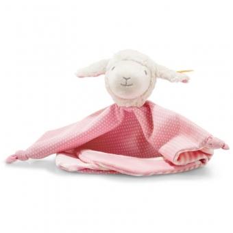 Steiff 241949 Liena Lamm Schmusetuch, Baumwolle, 28 cm, weiß/rosa