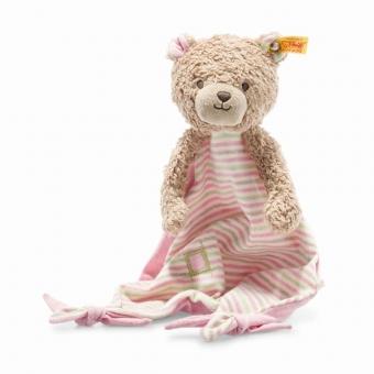 Steiff 242168 Teddybär Rosy Schmusetuch, Baumwolle, 28 cm, hellbraun/rosa