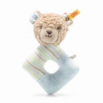 Steiff 242236 Teddybär Rudy Rassel, Baumwolle, 15 cm, hellbraun/blau