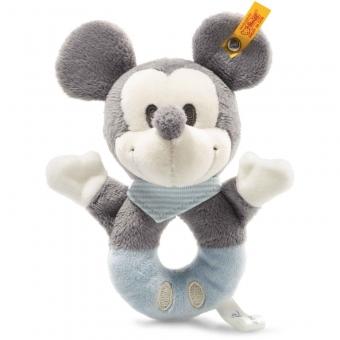 Steiff 290046 Mickey Mouse Greifring mit Rassel, Plüsch, 13 cm, grau/blau/weiß