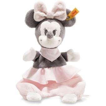 Steiff 290176 Disney Minnie Mouse Schmusetuch mit Knisterfolie, Plüsch, 29 cm, grau/rosa/weiß