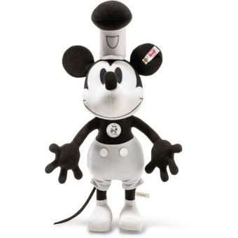 Steiff 354458 Disney Steamboat Willie Mickey Mouse, Trevirasamt, 35 cm, schwarz/weiß
