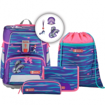 Step by Step SPACE Schulranzen-Set, 5-teilig, Shiny Dolphins