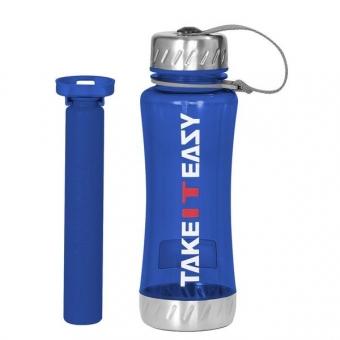 TAKE IT EASY Getränkeflasche 650 ml, blau