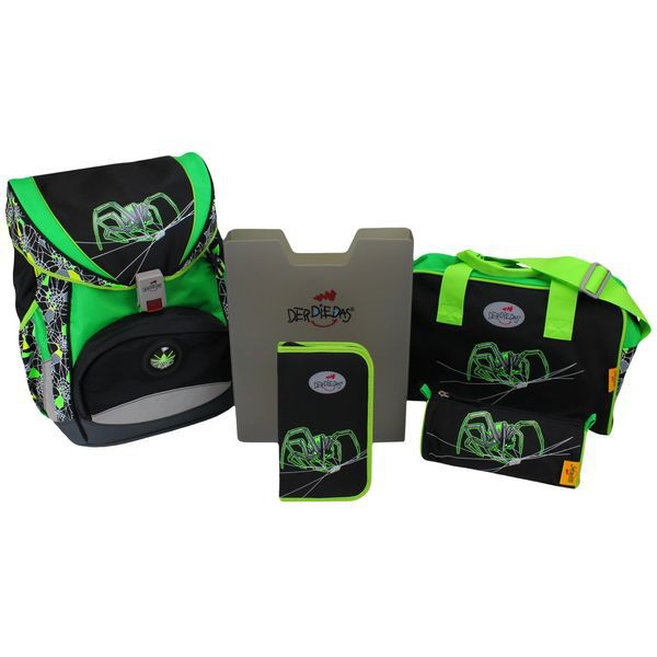DerDieDas Schulrucksack Set Ergoflex Green Spider 5-tlg. + gratis Tuschkasten