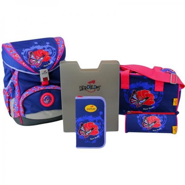 DerDieDas Schulranzen Set Ergoflex Exklusiv Led Pink Roses 5-tlg. + gratis Tuschkasten