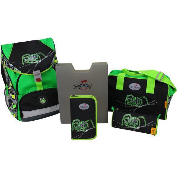 DerDieDas Schulrucksack Set Ergoflex XL Green Spider 5-tlg. + gratis Tuschkasten