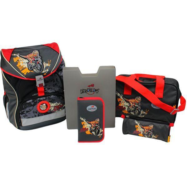 DerDieDas Schulrucksack Set Ergoflex XL Dino On The Road 5-tlg. + gratis Tuschkasten