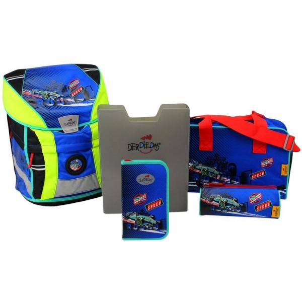 DerDieDas Schulranzen Set Ergoflex Vario Racing Team 5-tlg. + gratis Tuschkasten