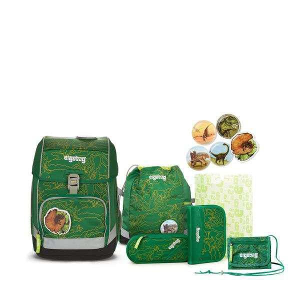 Ergobag Schulrucksack Set (7-tlg.) cubo, DinosauriBär, Grüner Dschungel + gratis Schulbox im Wert von 25 €