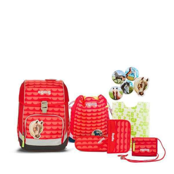 Ergobag Schulrucksack Set (7-tlg.) cubo - Set, SchaBärnack, Rote Wellen + gratis Schulbox im Wert von 25 €