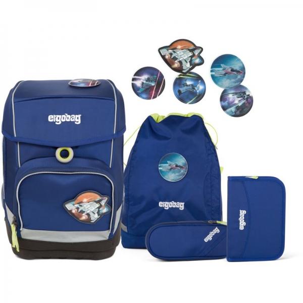 Ergobag Schulrucksack Set (5-tlg.) cubo, SchlauBär, Blau