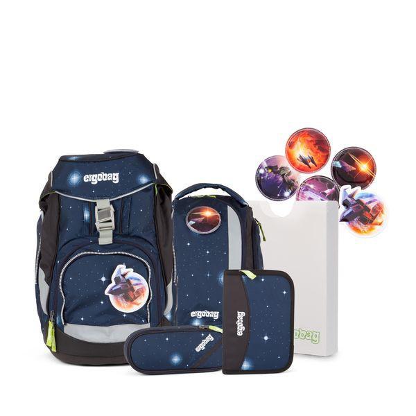 Ergobag Schulrucksack Set (6-tlg.) Special Edition Galaxy, KoBärnikus, Blaue Galaxie + gratis Schulbox im Wert von 25 €