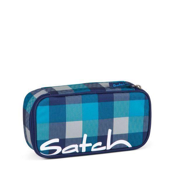 Satch Schlamperbox Blister, Karo Blau-Türkis
