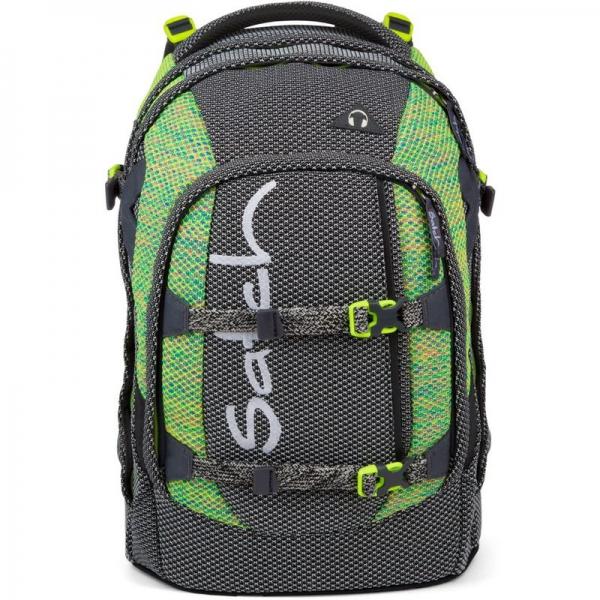 Satch Schulrucksack Limited Edition, Stripe Hype, Schwarz Weiß Neongrün