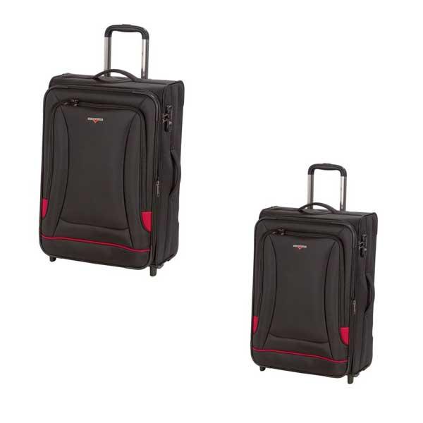 HARDWARE O-Zone Koffer Set 2tlg, Farbe: Black/Red, bestehend aus: Trolley M und Trolley L mit je 2 Rollen