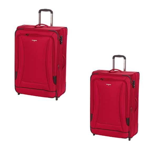 HARDWARE O-Zone Koffer Set 2tlg, Farbe: Red/Black, bestehend aus: Trolley M und Trolley L mit je 2 Rollen