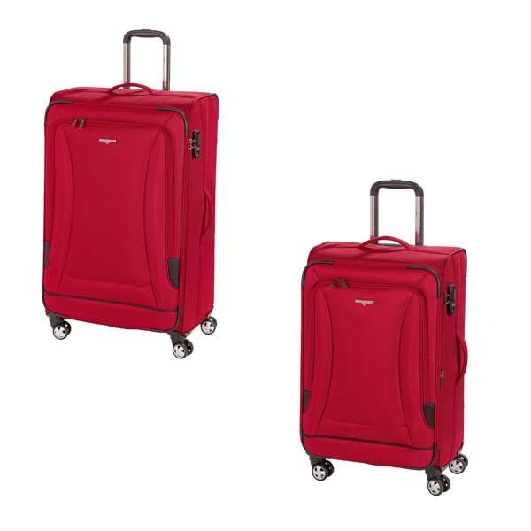 HARDWARE O-Zone Koffer Set 2tlg, Farbe: Red/Black, bestehend aus: Trolley M und Trolley L mit je 4 Rollen