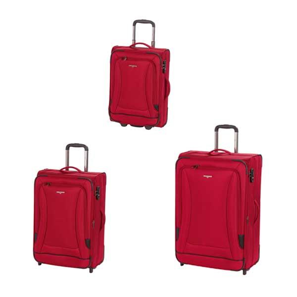 HARDWARE O-Zone Koffer Set 3tlg, Farbe: Red/Black, bestehend aus: Trolley M / Trolley L mit je 2 Rollen und Trolley S Cabin Size