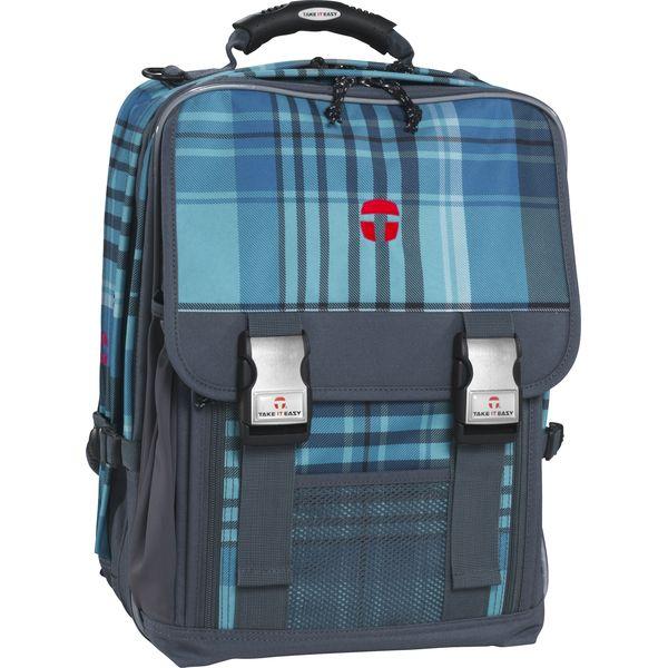 TAKE IT EASY Schulrucksack London ATLANTIC blau/grau + gratis Tuschkasten