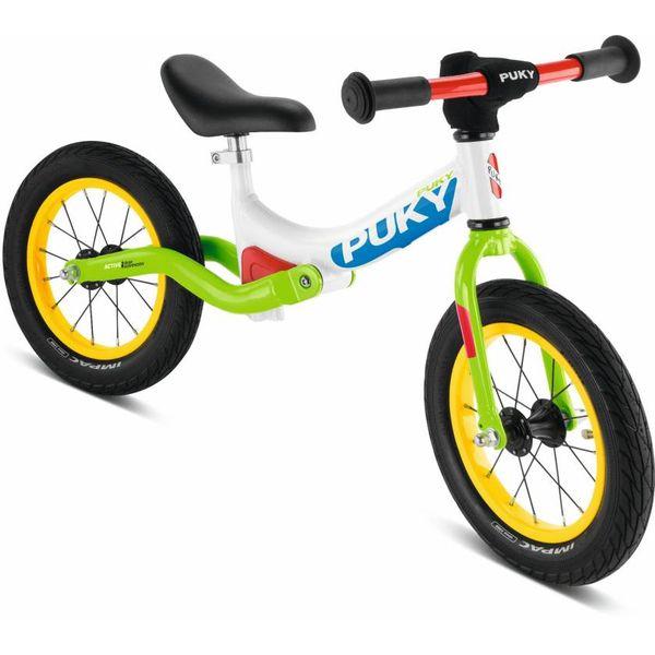 Puky 4082 LR Ride Laufrad mit Hinterrad-Federung, Luftbereifung, Farbe: weiß/kiwi