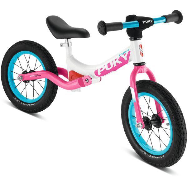 Puky 4083 LR Ride Laufrad mit Hinterrad-Federung, Luftbereifung, Farbe: weiß/pink