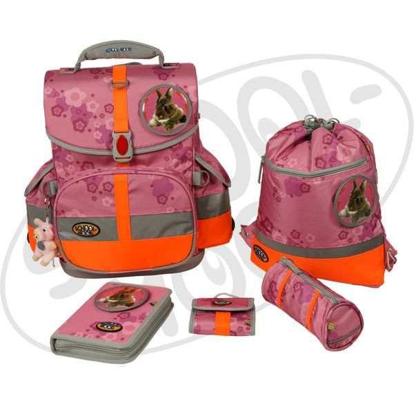 School-Mood Timeless III Schulranzen Set 1 - Hase - pink + gratis Tuschkasten