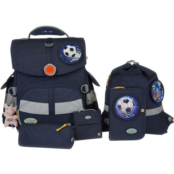 School-Mood Timeless Schulranzen Set 7 tlg. Fußball, Farbe: Marine Blue + gratis Tuschkasten
