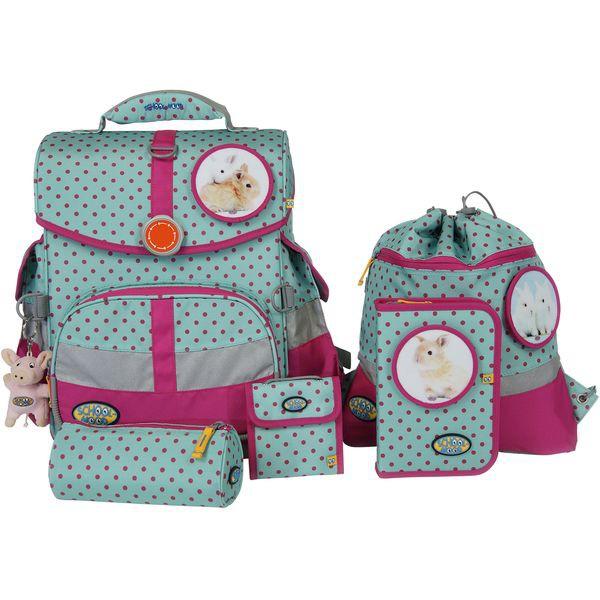 School-Mood Timeless Schulranzen Set 7 tlg. Hase, Farbe: Pink Dots + gratis Tuschkasten