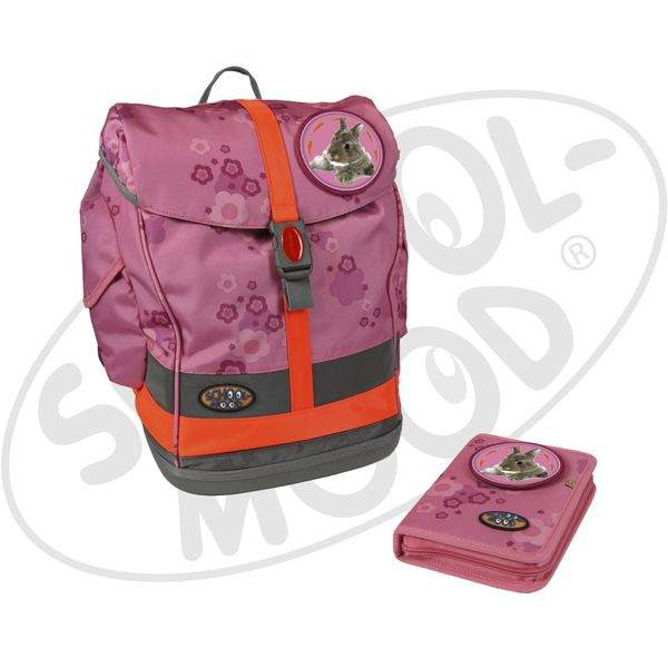 School-Mood Fly Schulranzen Mini Set - Hase - pink + gratis Tuschkasten