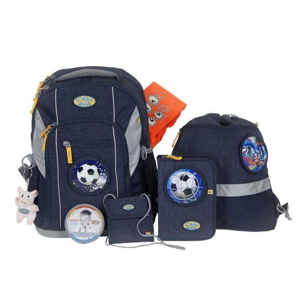 School-Mood Loop Schulranzen Set 7 tlg. Fußball, Farbe: Marine Blue + gratis Tuschkasten