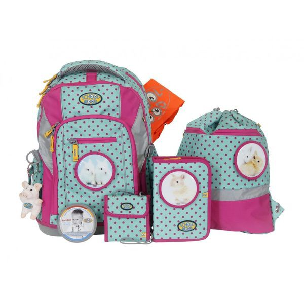 School-Mood Loop Schulranzen Set 7 tlg. Hase, Farbe: Pink Dots + gratis Tuschkasten