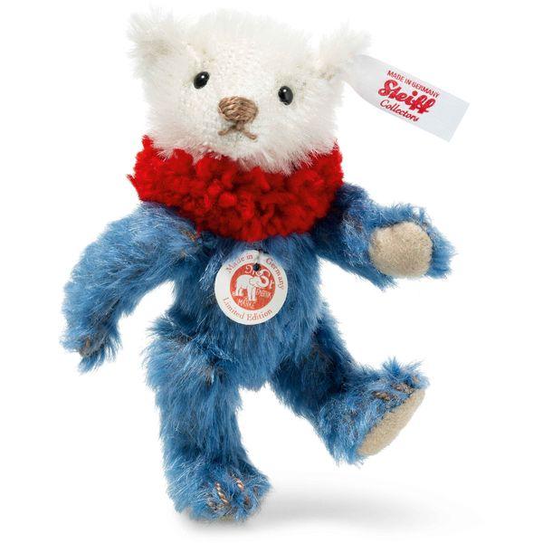 Steiff 006463 Dolly Mini Teddybär, Mohair, 10 cm, blau/weiß