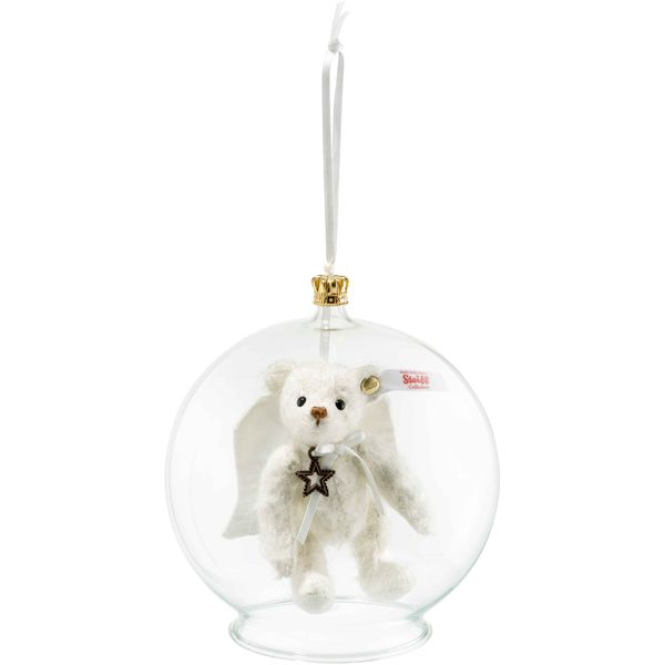 Steiff 006739 Gabriel Teddybär in Glaskugel Ornament, Mohair, 10 cm, weiß