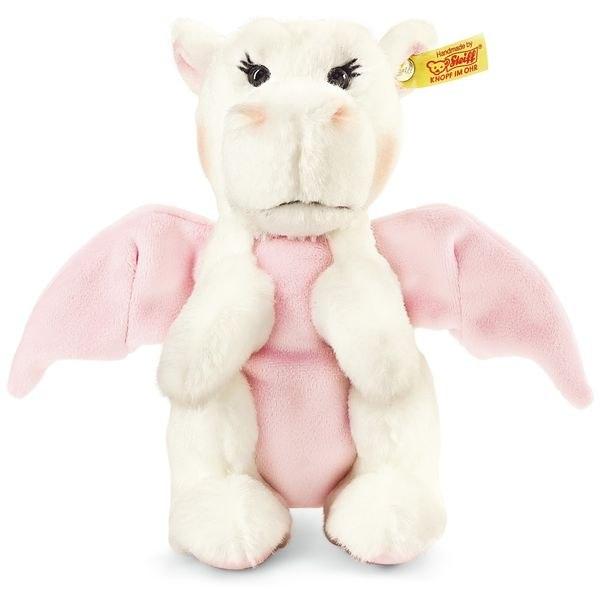 Steiff 015113 Rosali Baby-Drache, Plüsch, 20 cm, weiß/rosa, stehend