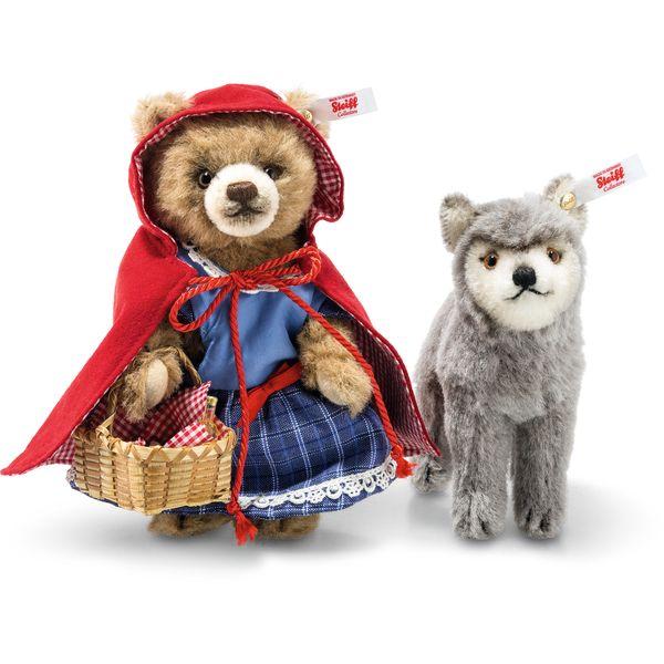 Steiff 021350 Märchenwelt Rotkäppchen und der Wolf, Alpaca, 16 cm, rotbraun/grau