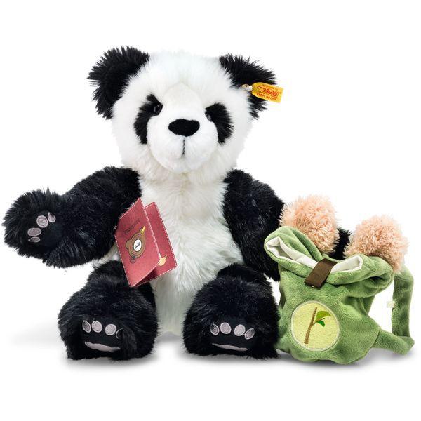 Steiff 022173 Around the world bears Weltenbummler Lin Panda, Plüsch, 34 cm, weiß/schwarz