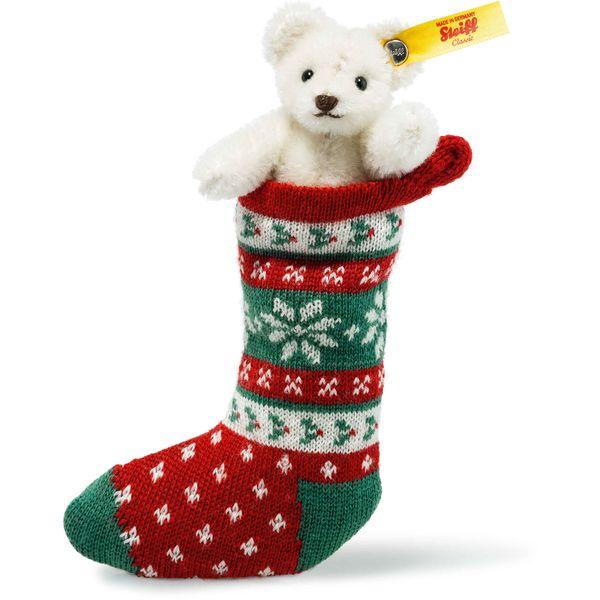 Steiff 026768 Mini Teddybär in Socke, Mohair, 8 cm, weiß