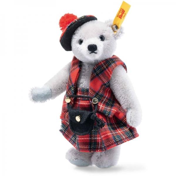Steiff 026911 Great Escapes Edinburgh Teddybär in Geschenkbox, Mohair, 16 cm, grau