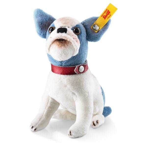Steiff 031441 Bully Bulldogge, Plüsch, 12 cm, weiß/blau