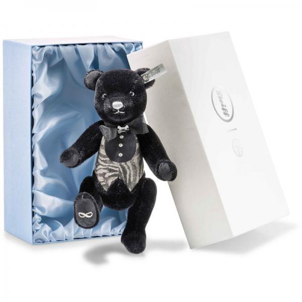 Steiff 034220 Bräutigam Teddybär, Mohair, 27 cm, schwarz