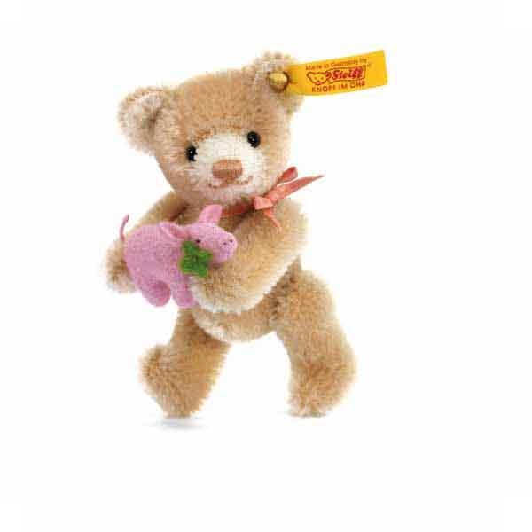 Steiff 039836 Mini Teddybär Glücksbringer, 9 cm, Mohair, beige